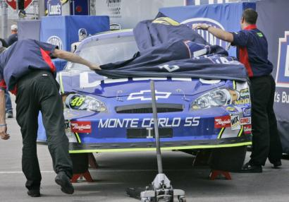 A Kansas City crack-up forced Jimmie Johnson's crew to pull the covers over his favorite Chevy for today's LifeLock 400.