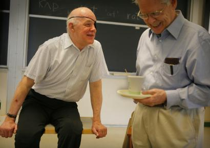 University of Chicago math professor Paul Sally (left) shared a moment with MIT professor Sigurdur Helgason before a lecture at MIT last week.