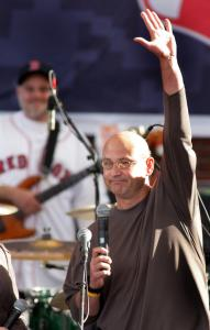 Terry Francona reminisced yesterday at City Hall Plaza about Friday night's celebration after the New York Yankees' loss.