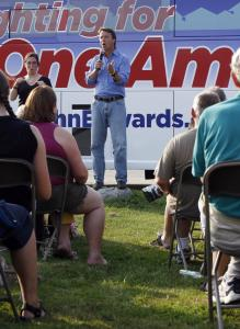 Democratic presidential hopeful John Edwards made his pitch during a four-day bus tour through New Hampshire in August.