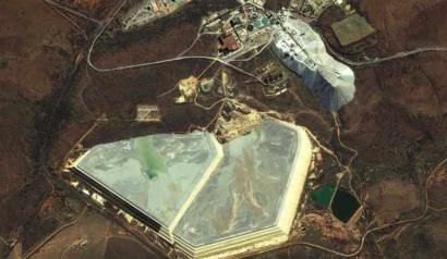 An aerial view of the Elandsrand Mine complex where miners were trapped after a burst pipe damaged an elevator shaft.