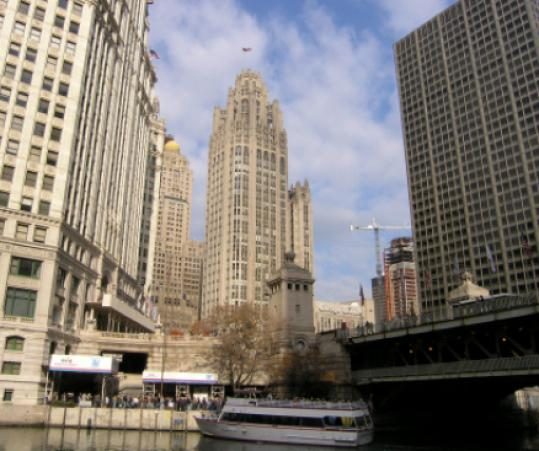 The Tribune tower, seen from the Chicago River, dates to 1925.