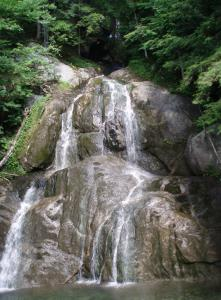 Moss Glen Falls in Vermont's Granville Gulf Reservation is accessible from Route 100 and has a boardwalk for visitors.