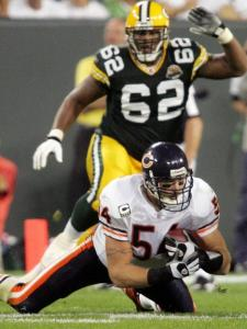 Not long after linebacker Brian Urlacher made this third-quarter interception of Brett Favre, the Bears started their rally by driving for a touchdown.