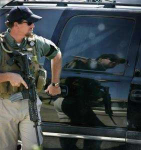 A Blackwater security contractor guarded a US ambassador's convoy in Mosul, northwest of Baghdad.