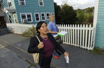 Lisa Wong, a mayoral candidate, knocked on doors in Fitchburg last week with Sally Cragin, a supporter.