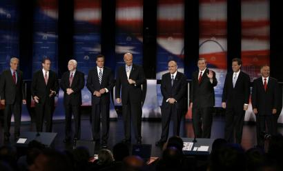 The nine candidates on hand last night in Dearborn, Mich. (from left): Representative Ron Paul, former governor Mike Huckabee, Senator John McCain, former governor Mitt Romney, former senator Fred Thompson, former New York City mayor Rudy Giuliani, Representative Duncan Hunter, Senator Sam Brownback, and Representative Tom Tancredo.