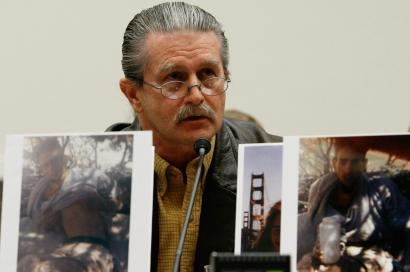 Bob Bacon displayed photos of his son Aaron yesterday while testifying before the House Education and Labor Committee. Aaron died while enrolled in a wilderness program in Utah.