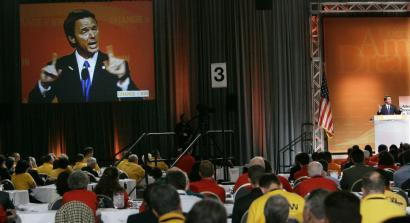 John Edwards addressed the 'Change to Win' labor convention on Sept. 25 in Chicago. Despite efforts to woo the backing of labor, he did not receive a major union endorsement.