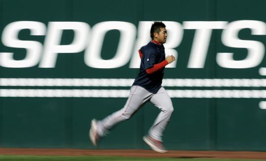 Daisuke Matsuzaka, working out yesterday, should have a lot running through his mind when he takes the mound tonight.