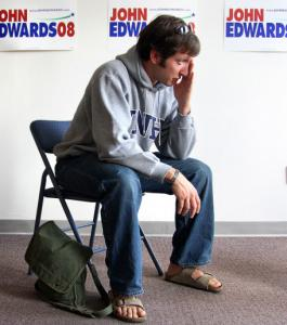 Joshua Denton, who returned from Iraq in August, cites his military experience when canvassing for John Edwards in New Hampshire.