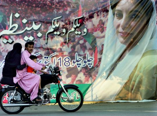 Images of Benazir Bhutto were scattered about in Karachi, Pakistan, yesterday as supporters prepared for her return.