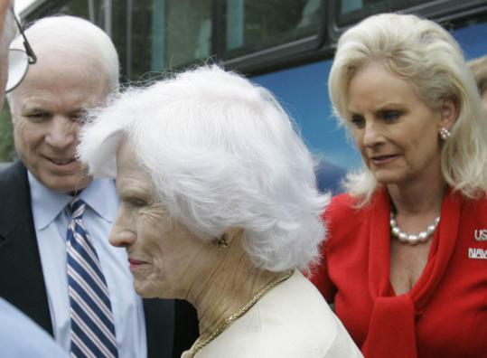 John McCain often says he should bring his mother to campaign stops to demonstrate his good genes. Yesterday he did. 'I am so happy to be here,' said Roberta McCain (center), 95, at a retirement community in South Carolina. The senator's wife, Cindy, joined them.