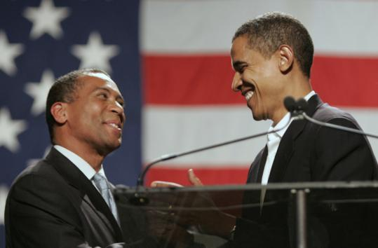 Barack Obama (right) and Deval Patrick met when Obama was a civil rights lawyer in Chicago and Patrick was head of the Justice Department's Civil Rights Division.