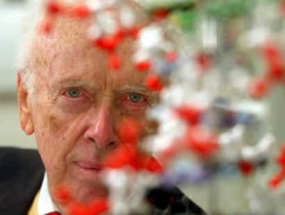 Scientist James Watson, behind a model of the DNA double helix, is under fire for comments he made suggesting that blacks are intellectually inferior to whites.