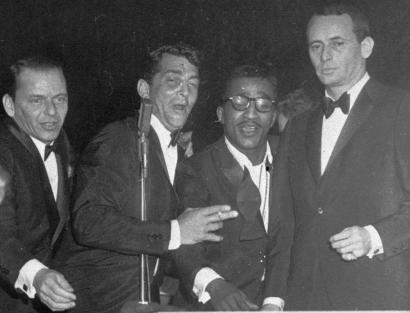 A stone-faced Joey Bishop (right) with other members of the 'Rat Pack' at the Sands Hotel in Las Vegas (from left): Frank Sinatra, Dean Martin, and Sammy Davis Jr.