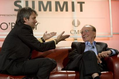 MySpace chief Chris DeWolfe (left) and chairman Rupert Murdoch of News Corp. discussed their changing business yesterday at the Web 2.0 conference in San Francisco. MySpace will open itself to outside developers within two months, DeWolfe said.