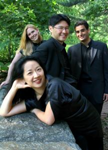 Clockwise from front: Min-Young Kim (violin), Jessica Thompson (viola), Kyu-Young Kim (violin), and Raman Ramakrishnan (cello) of Daedalus String Quartet.