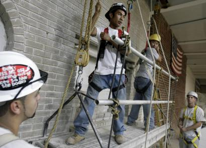 Workers learned safety procedures at a suspended-scaffolding training class in Queens. Construction is the most dangerous work in the United States, according to the federal Bureau of Labor Statistics. Scaffolds cover thousands of New York buildings.
