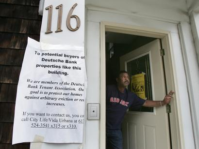 Rafael Matos, 47, is fighting eviction from his home of almost five years after a bank took possession of the house in Dorchester that his former landlord once owned. The other two tenants in the building left quietly, Matos said.