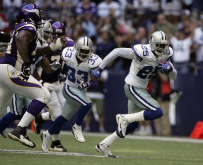 No one was going to catch the Cowboys' Pat Watkins, who scooped up a blocked field goal and raced 68 yards to the end zone.