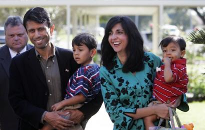 Republican Bobby Jindal, Louisiana governor-elect, holding his son Shaan, attended church services yesterday in Kenner, La., with his wife, Supriya, who held their youngest son, Slade.