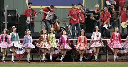 The Dropkick Murphys performed with step dancers before the Sox' series-winning game Sunday night.