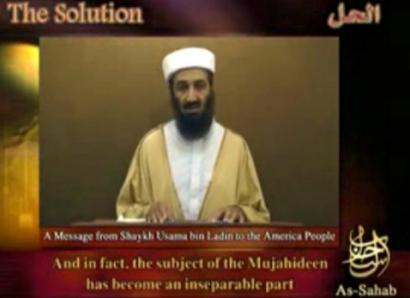 A file image taken from a video released in September of Osama Bin Laden delivering a speech.