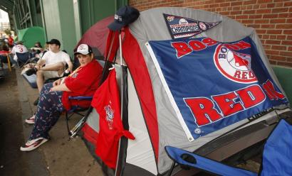 Red Sox fans camped outside Fenway Park yesterday waiting for tickets to the World Series, which begins tonight at Fenway Park when Boston takes on Colorado in Game 1. It is the second time in three years that the Sox have played in the Series.