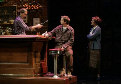 As Brendan, Dashiell Eaves (center, with Tommy Schrider and Nancy E. Carroll) projects an outsider's awareness of what's different about his new country.