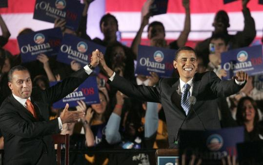 Governor Deval Patrick introduced Barack Obama to throngs of supporters Tuesday night on Boston Common.
