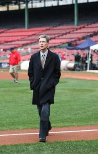 Sox owner John W. Henry, who has instituted many changes at Fenway Park, strolls the grounds prior to last night's World Series opener against the Colorado Rockies.