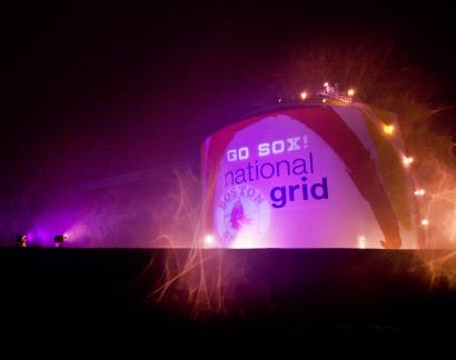 Lights supporting the Red Sox have been displayed on the National Grid gas tank along the Southeast Expressway, including such slogans as, 'No Rockies High Here. Go Red Sox.'