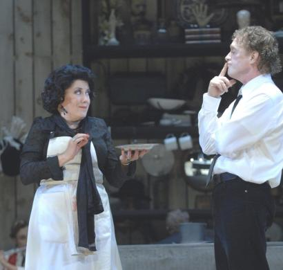 Judy Kaye as the pie-baking Mrs. Lovett and David Hess in the title role of 'Sweeney Todd: The Demon Barber of Fleet Street' at the Colonial Theatre.