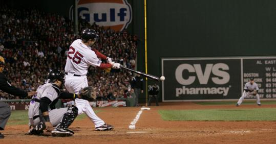 Mike Lowell lined a double down the left-field line with two outs in the fifth inning to score the go-ahead run.