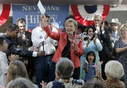 Senator Hillary Clinton made a campaign visit to Las Vegas in August. Clinton, who leads most polls in Nevada, and the major presidential contenders have made few stops in the state.