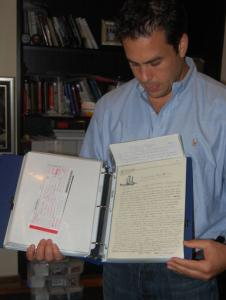 Steiner Sports Marketing's Jared Weiss is offering pages of Joe DiMaggio's journals for between $2,000 and $10,000 each.
