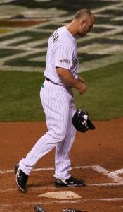 Rockies slugger Matt Holliday went down in a huff, striking out to end the third inning with a runner at second base.