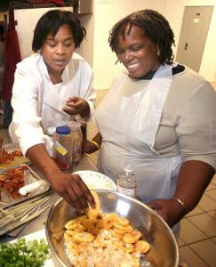 Chef Nadine Nelson (left) begins her cooking classes with tours of local gardens and specialty marts.