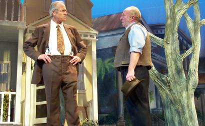 Will Lyman (left, as Atticus Finch) and Paul Farwell in Wheelock's 'To Kill a Mockingbird.'
