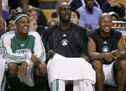 Celtics stars Paul Pierce, Kevin Garnett, and Ray Allen have developed chemistry off the court even as they are getting used to each other on it.