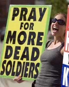 A Westboro Baptist Church member protested at a funeral in California.