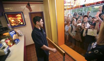 After arriving through a back door, Sox rookie Jacoby Ellsbury greeted fans outside the Taco Bell on BU's campus yesterday.