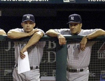 Yankee skippers: Joe Giradri (left) once played for Joe Torre. Now Girardi is Torre's successor as New York's manager.