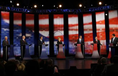 The Democratic candidates who participated in the Philadelphia debate were (from left) Senators Chris Dodd and Joseph R. Biden Jr., former senator John Edwards, Senators Hillary Clinton and Barack Obama, Representative Dennis J. Kucinich, and Governor Bill Richardson.
