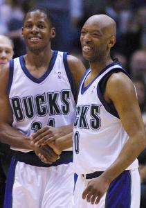 Sam Cassell (right) had this to say about former teammate Ray Allen (left): 'You get 20 points of scoring every day from him.'