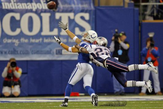 Patriots cornerback Asante Samuel was flagged for pass interference on this first quarter throw to the Colts' Anthony Gonzalez.