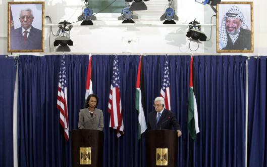 Palestinian leader Mahmoud Abbas met with US Secretary of State Condoleezza Rice yesterday. Rice said a planned conference can help lead to a peace deal .