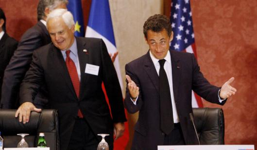 President Nicolas Sarkozy of France (right) addressed the French-American Business Council yesterday in Washington.