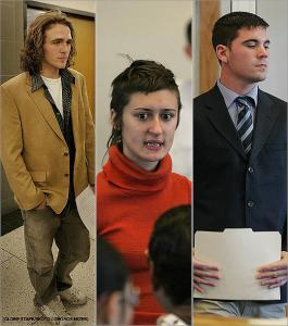 Michael Janquet (left), Monica Majewski (center), and Christopher Ferguson (left) were three of the five young people that appeared in Roxbury District Court to turn in their court-ordered essays after being arrested following a Red Sox game.
